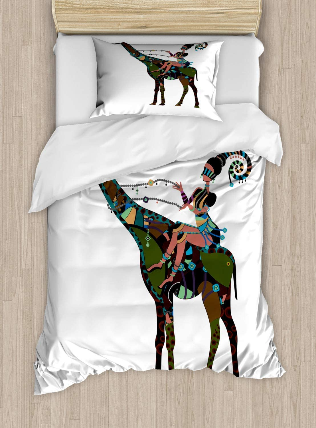 Folk Art Duvet Cover Set, Bed Sheets, Abstract Design Woman Riding a Giraffe in Indigenous Clothes, Decorative 3 Piece Bedding Set with 2 Pillow Sham, Queen Size, Multicolor