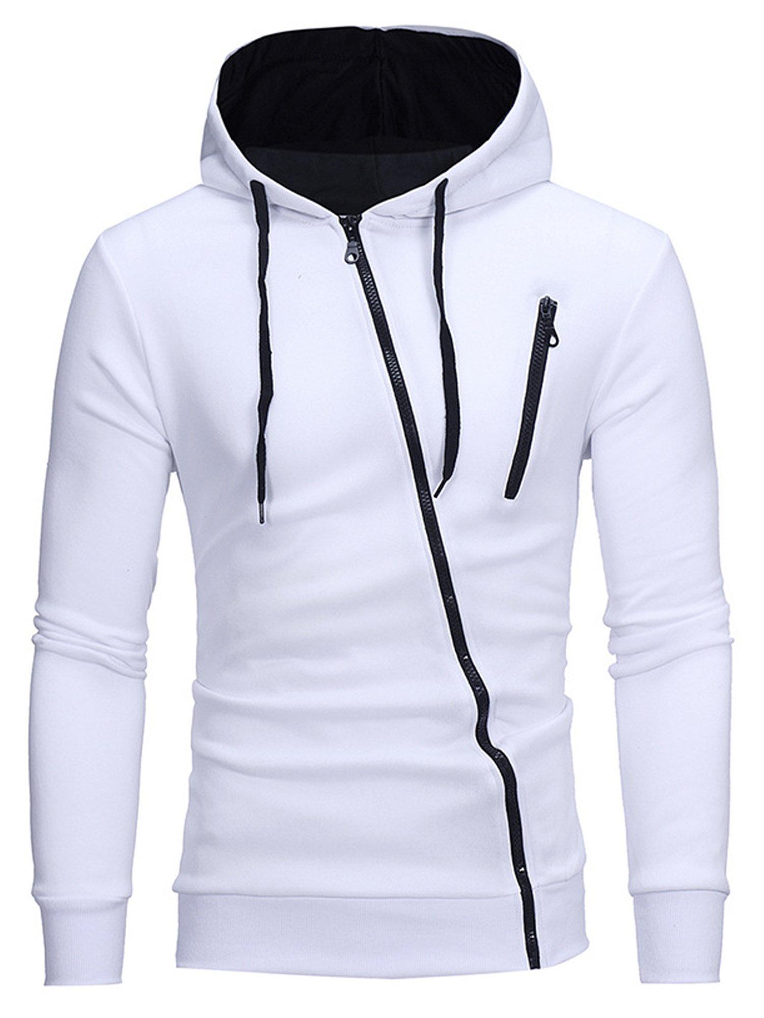 TOLOER Mens Hooded Sweatshirt Cotton Lightweight Slim Fit Zip-up Hoodie Jacket White Medium