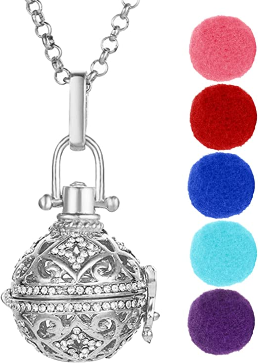 5X Silver Essential Oil Diffuser Rose Flower Locket Ball Pendant DIY Necklace