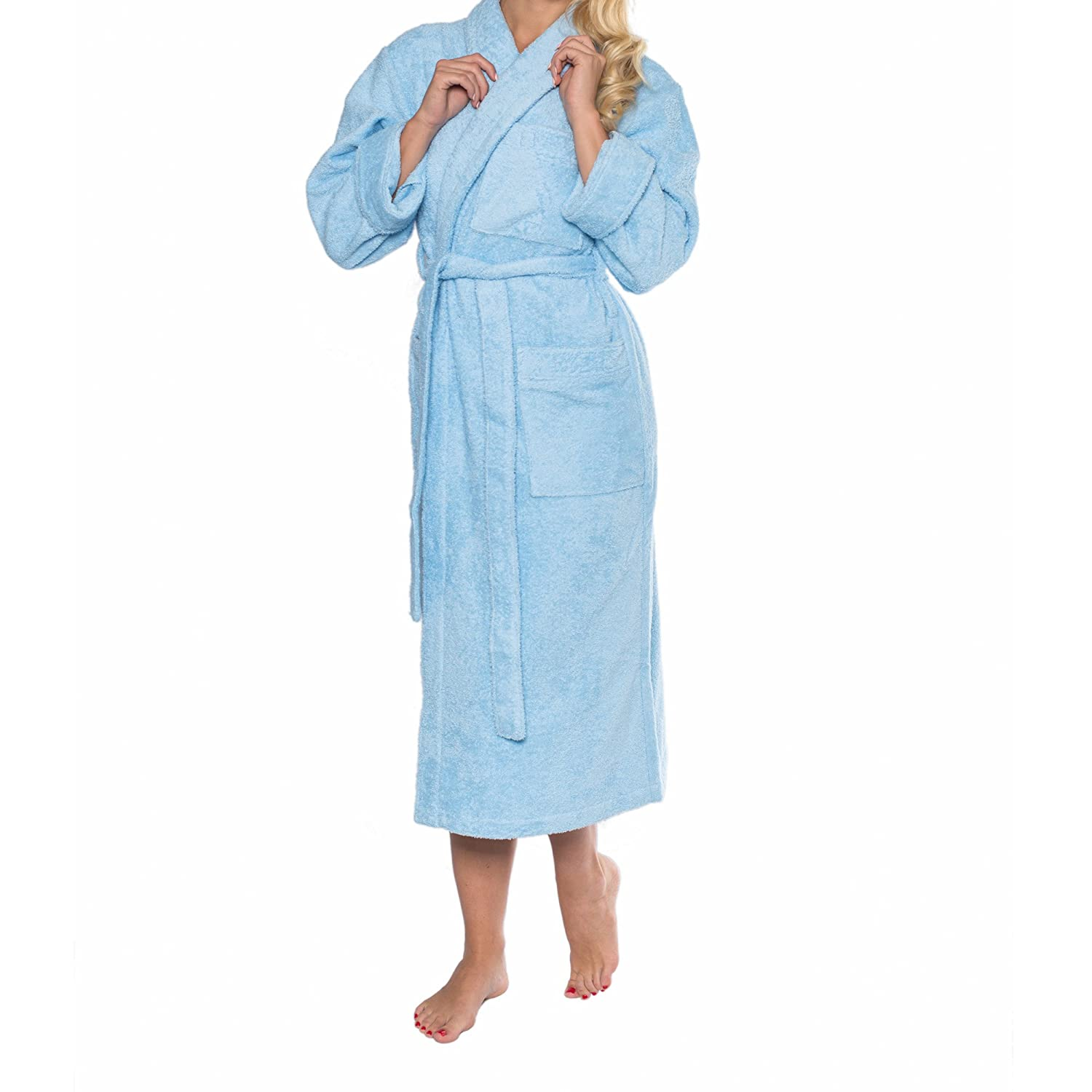 Sophie Bernard AUDREY exclusive Bathrobe from the Collection Bath & Spa. 100% pure Cotton, 430 gf/sqm. Feel at ease! S-Size/light blue LuBo Versandhandel GmbH SB-TA-BAD-AUDREY-S-HB