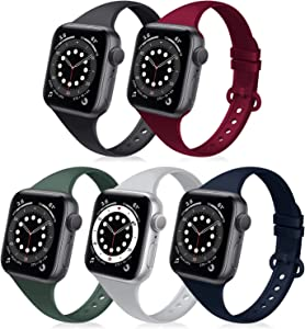 DYKEISS 5 Pack Slim Silicone Sport Band Compatible for Apple Watch Band 38mm 40mm 42mm 44mm, Narrow Soft Replacement Thin Wristband Strap Accessory for iWatch Series SE/6/5/4/3/2/1 Women Men