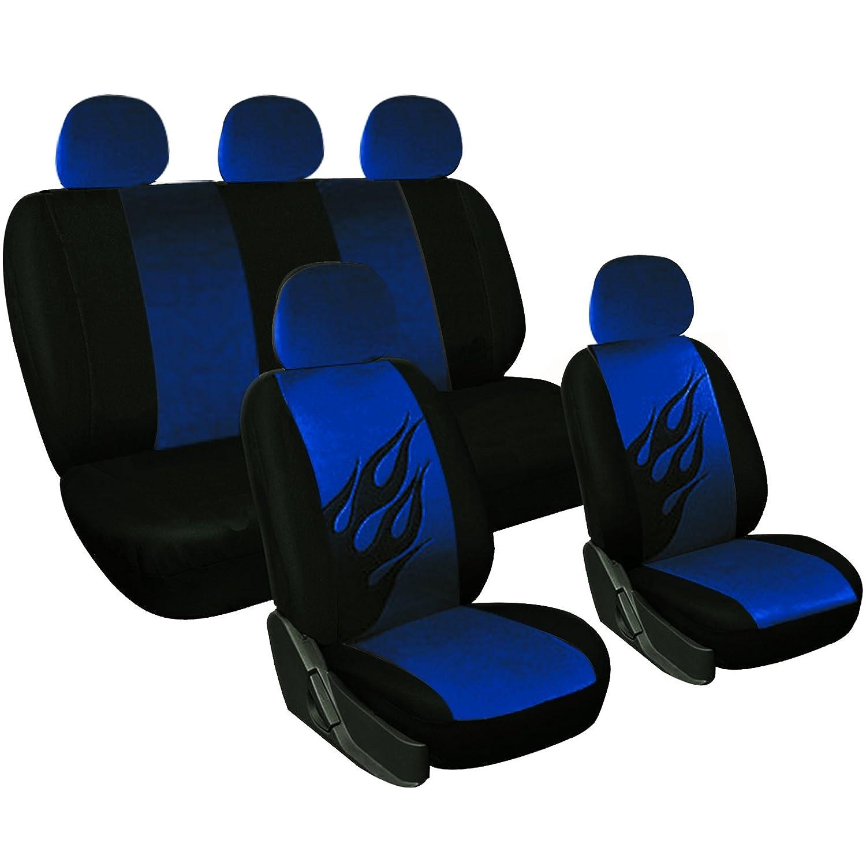 Woltu 7222-b Coprisedile Completo Seat Cover Auto Poliestere Universale Fiamma Nero/Blu AS7222