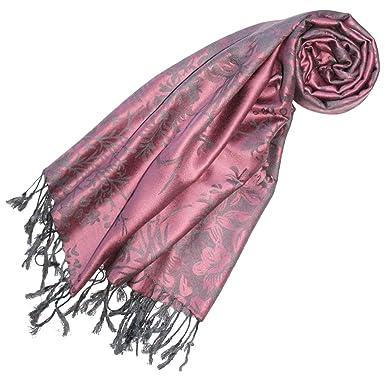 lorenzo cana schal fuer damen designer pashmina hochwertig floral gewebtes blumen muster damast webart 70 cm - Schal Muster