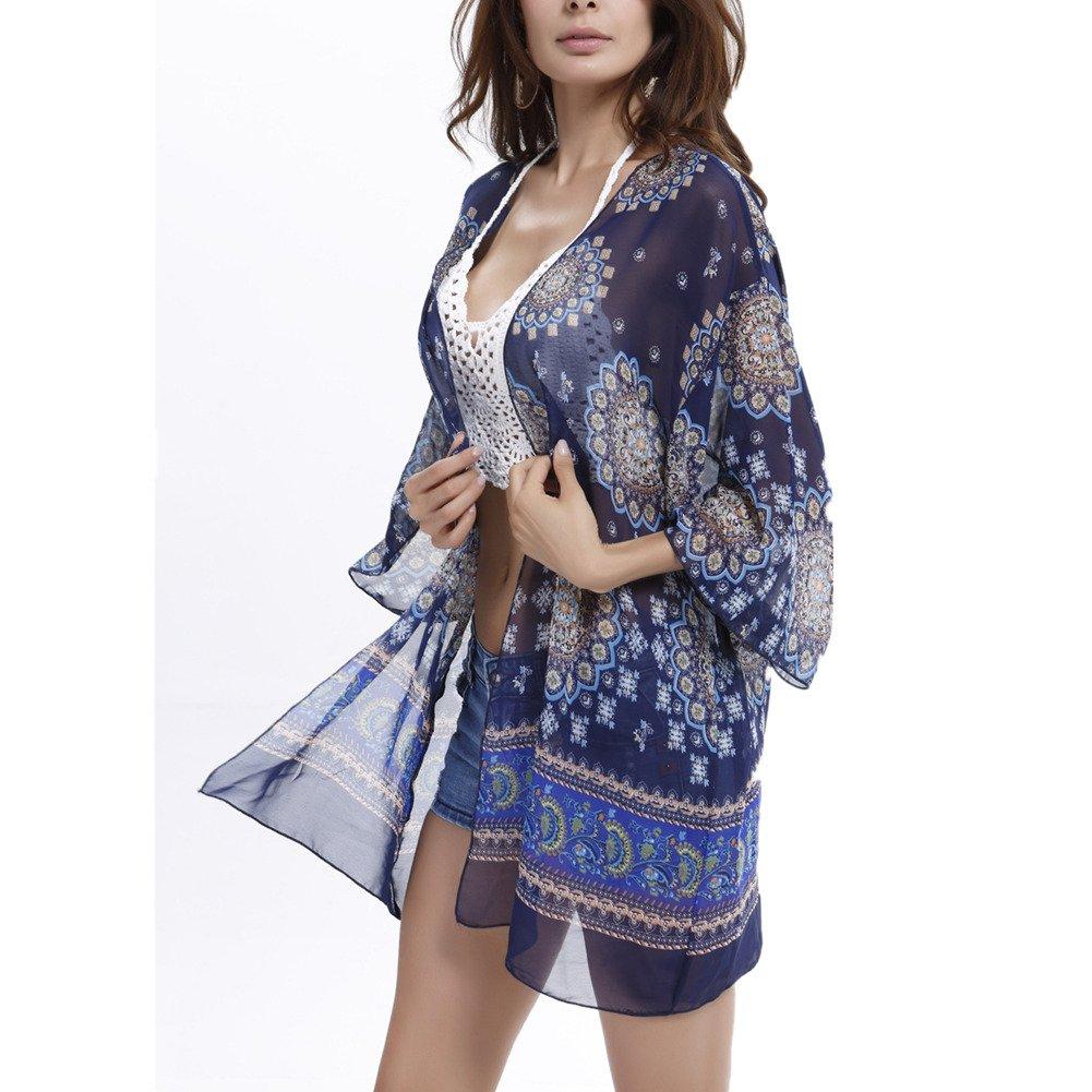 Playa blusa kimono Cardigan, Chickwin De La Mujer Verano Gasa Kimono Fundas De Playa Bikini Trajes De Baño Gasa Mantón (B)
