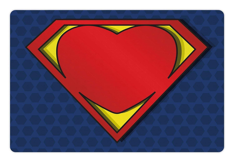 Lunarable Superhero Pet Mat Food Water, My Super Man Shield Logo Heart Figure Valantines Romance Print, Rectangle Non-Slip Rubber Mat Dogs Cats, Night Blue Red Yellow