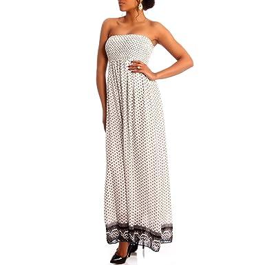 Vestido largo hippie escote palabra de honor, vestido de gasa sin tirantes, vestido de verano blanco / negro Talla única : Amazon.es: Ropa y accesorios