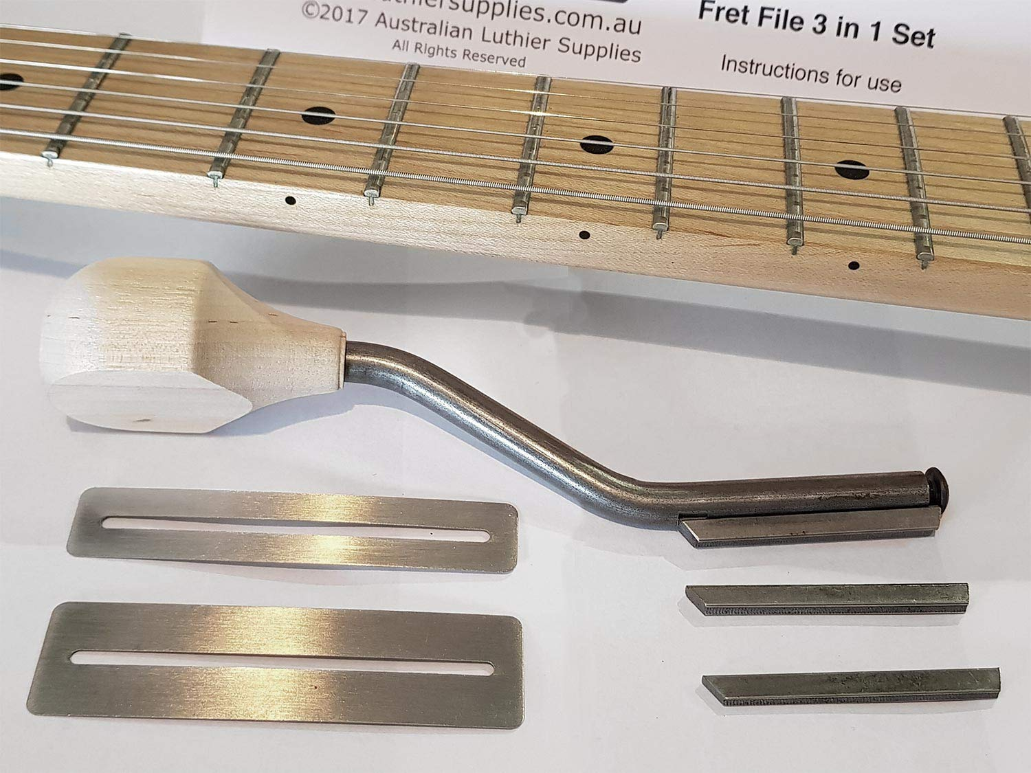 ALS Guitar Fret File & Fingerboard Guard Set with Instructions - 3 in 1 Fret File Made in USA by Gurian - Instructions by Australian Luthier Supplies