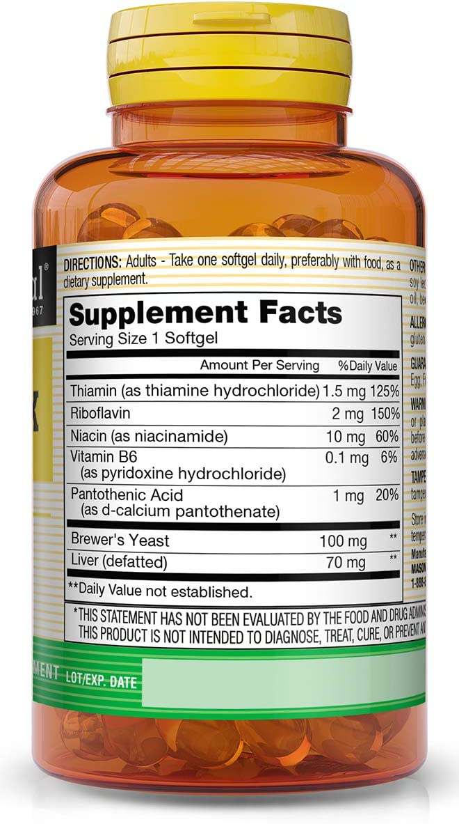 Mason Natural, Vitamin B Complex Multivitamin, Softgel, 100-Count Bottles (Pack of 3), Dietary Supplement Supports Energy Production, Nervous System, and Cognitive Function Including Memory: Health & Personal Care