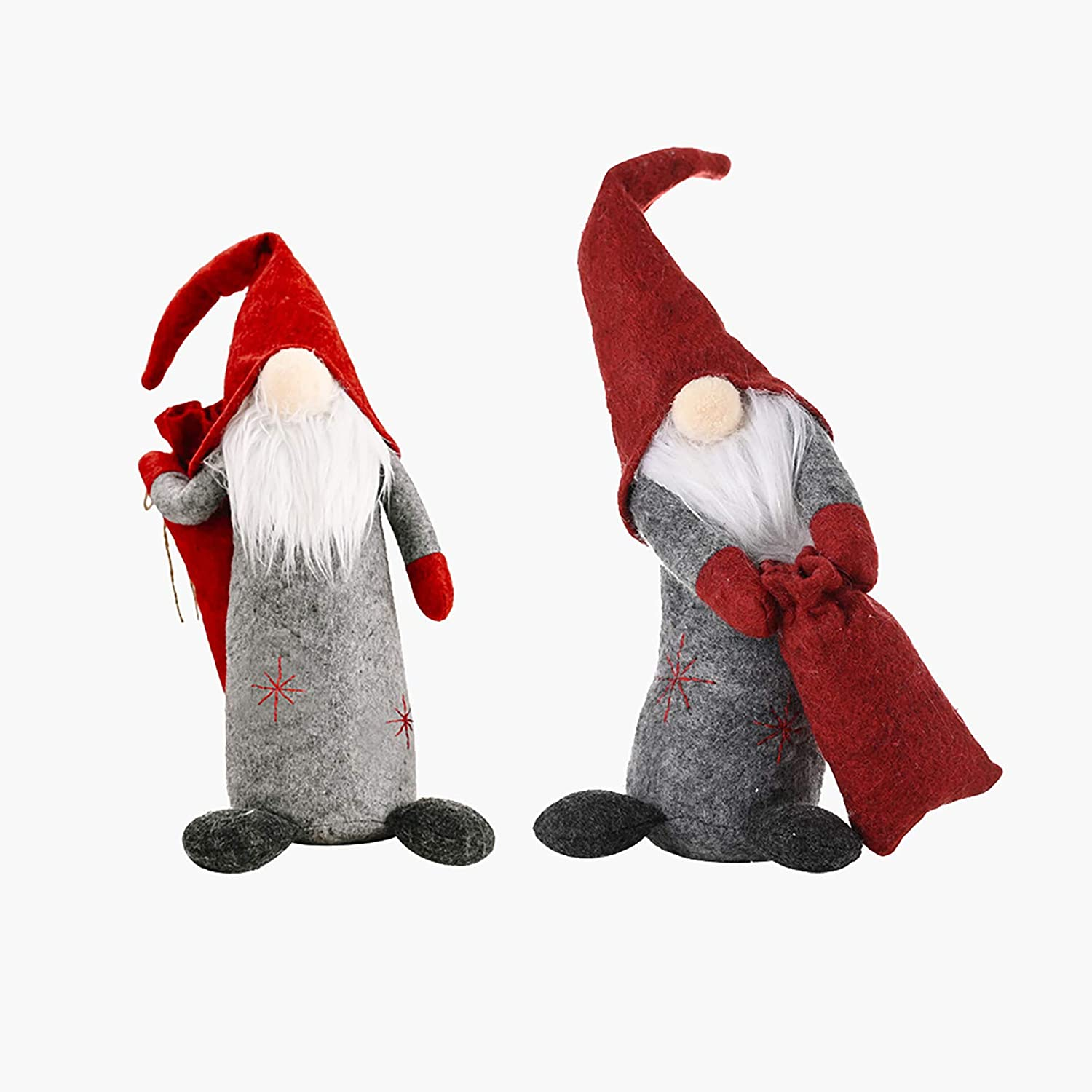 Gnome Christmas Ornaments Set/Bulk - Personalized Christmas Gnome Plush Decoration, Holiday Tomte/Santa's Handmade Doll, Creative Xmas Tabletop Figurines for Home Decor (2 Pack, Red)