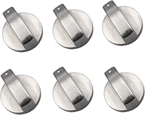 6pcs Cooker Knobs, Oven Knobs Metal Rotary Switch Control Gas Knobs Replacement Accessories for Kitchen Cooker Gas Stove Oven Cooktop (6mm6pcs)