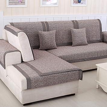 Zzy Protector de Muebles Sofa para Mascota o Perro de sofá Cubre Funda de Tiro sofá seccional sólido de Temporada Todos Color Espesar algodón y Lino ...