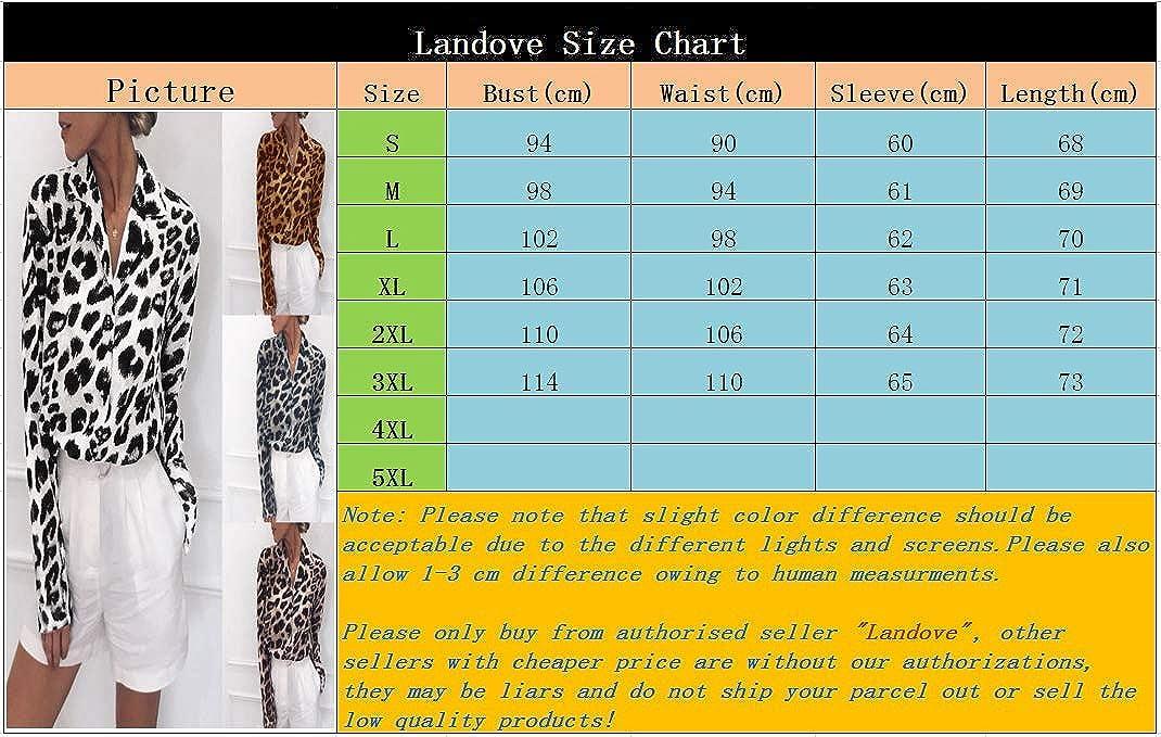 Landove Camicia Leopardata Donna Elegante Scollo V Manica Lunga
