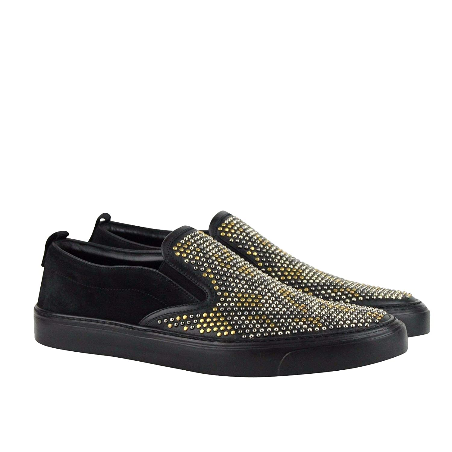 80c4272e098b49 Amazon.com: Gucci Studded Slip Black Suede Leather Shoes Sneakers 386777  1000: Shoes