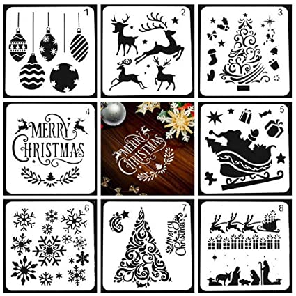 Christmas Drawing.Kobwa Christmas Drawing Painting Stencils Scale Template Sets 8 Pcs Different Christmas Style Stencils For Painting On Wood Craft Cards Making