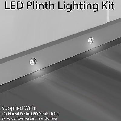 12x LED rond paupière Plinth kit d'éclairage–Finition en acier inoxydable–Faisceau Blanc naturel–Salle de Bain et cuisine Plinthe/panneau de planche &a