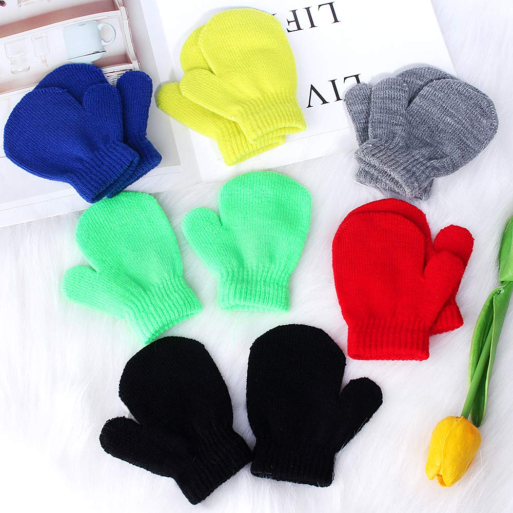 Hicdaw 6Pairs Toddler Mittens Magic Stretch Knitted Gloves Winter Warm Gloves Gifts for Kids
