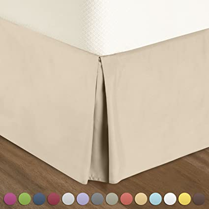 Pleated Bed Skirt Queen Size U2013 Cream (Ivory Vanilla) Luxury Double Brushed
