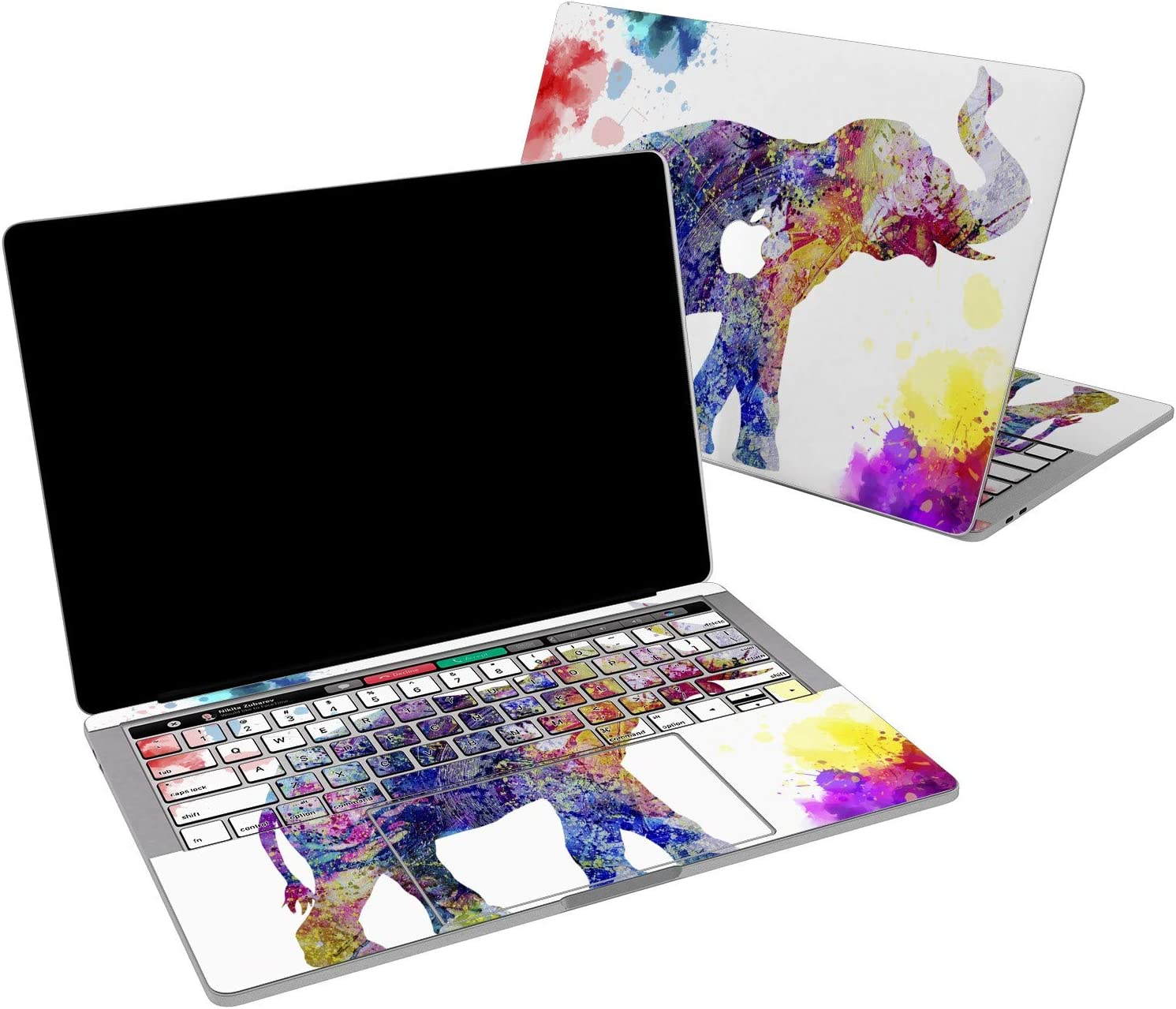 Lex Altern Vinyl Skin for MacBook Air 13 inch Mac Pro 16 15 Retina 12 11 2020 2019 2018 2017 Watercolor Splash Pattern Nature Pink Elephant Touch Bar Laptop Cover Keyboard Decal Sticker Wrap Girl