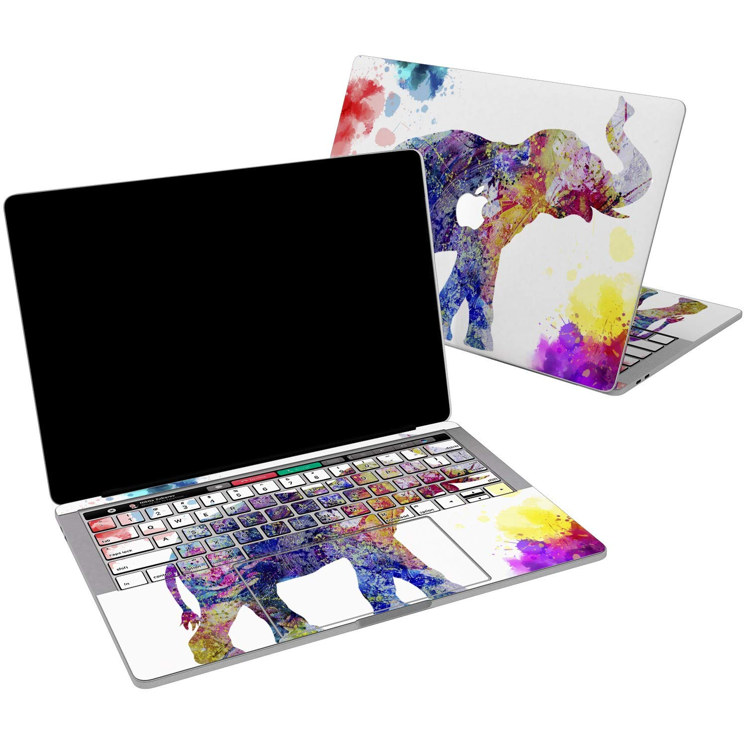 Lex Altern Vinyl Skin for MacBook Air 13 inch Mac Pro 15 Retina 12 11 2019 2018 2017 2016 2015 Watercolor Splash Pattern Nature Pink Elephant Touch Bar Laptop Cover Keyboard Decal Sticker Wrap Girl