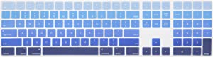 Leze - Ultra Thin Keyboard Cover for Apple iMagic Wireless Keyboard with Numeric Keypad MQ052LL/A( A1843, Released 2017&2018) US Layout - Gradual Blue