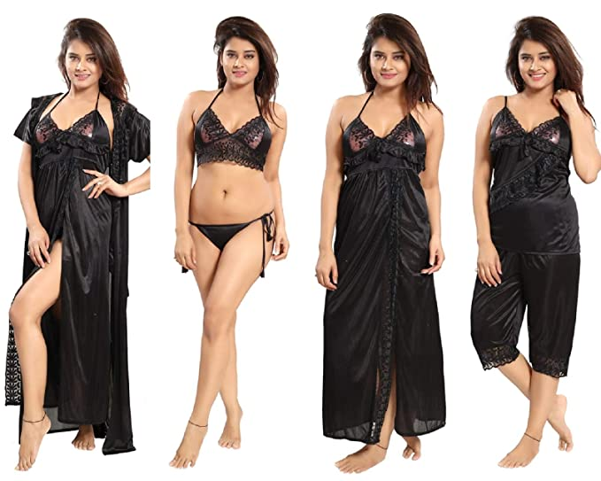 8e6317b35 REPOSEY Black Women s Satin Nightwear Small Size Set of 6 Pcs Robe with  Nighty