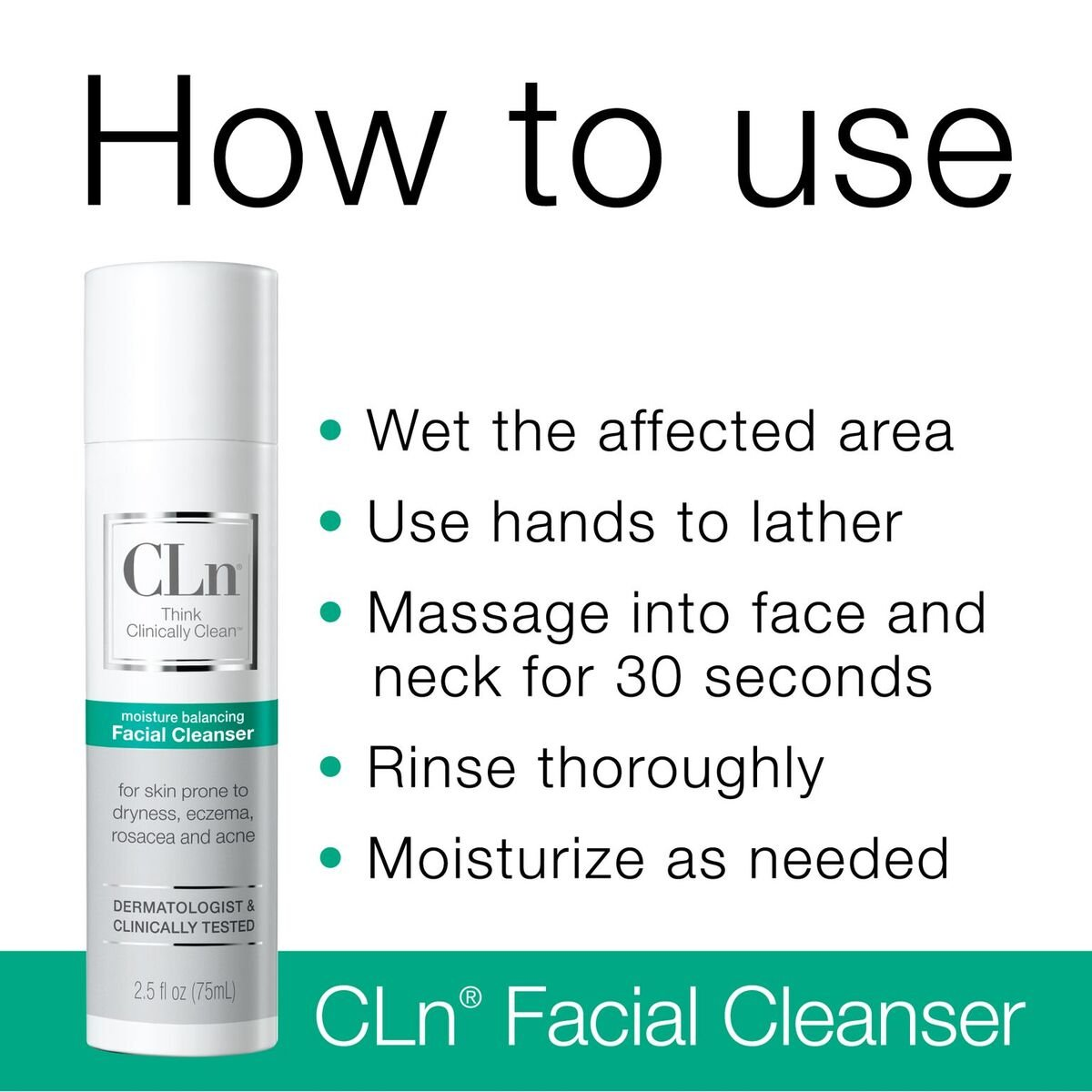 Amazon : Cln Facial Cleanser  Sensitive Skin Facial Cleanser, For Skin  Prone To Dryness, Eczema, Rosacea, And Acne  Designed For The Delicate Skin  Of