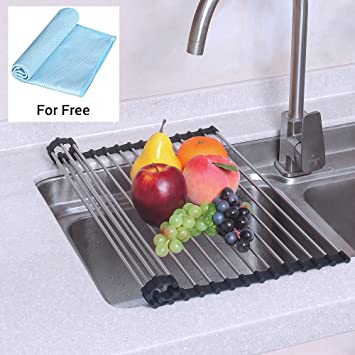 NEX Dish Drying Rack Over The Sink Folding Dish Drainer For Kitchen Use  Drying
