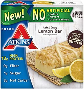 Atkins Snack Light Crispy Lemon Bar, 5 Little Bars (Pack of 2)
