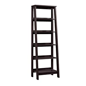 "Sauder 414602 Trestle 5 Shelf Bookcase, W: 23.54"" x L: 16.61"" x H: 71.14"", Jamocha Wood finish"