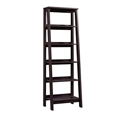 Sauder 414602 Trestle 5 Shelf Bookcase, W: 23.54  x L: 16.61  x H: 71.14 , Jamocha Wood finish