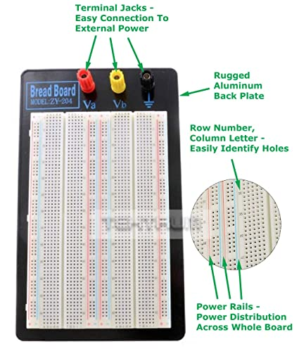 Power Module Tektrum Externally Powered Solderless 3220 Tie-Points Experiment Plug-in Breadboard with Aluminum Back Plate Jumper Wires Wall Adaptor for Proto-Typing Circuit//Arduino//Raspberry Pi