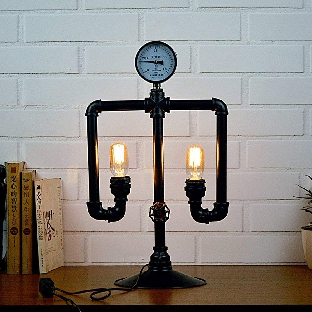 ZXT European Antique Wrought Iron Industrial Wind Water Pipe Table lamp DIY Creative Robot Decorative Lamps Retro Nostalgic Edison Metal Tabletop Bedside lamp