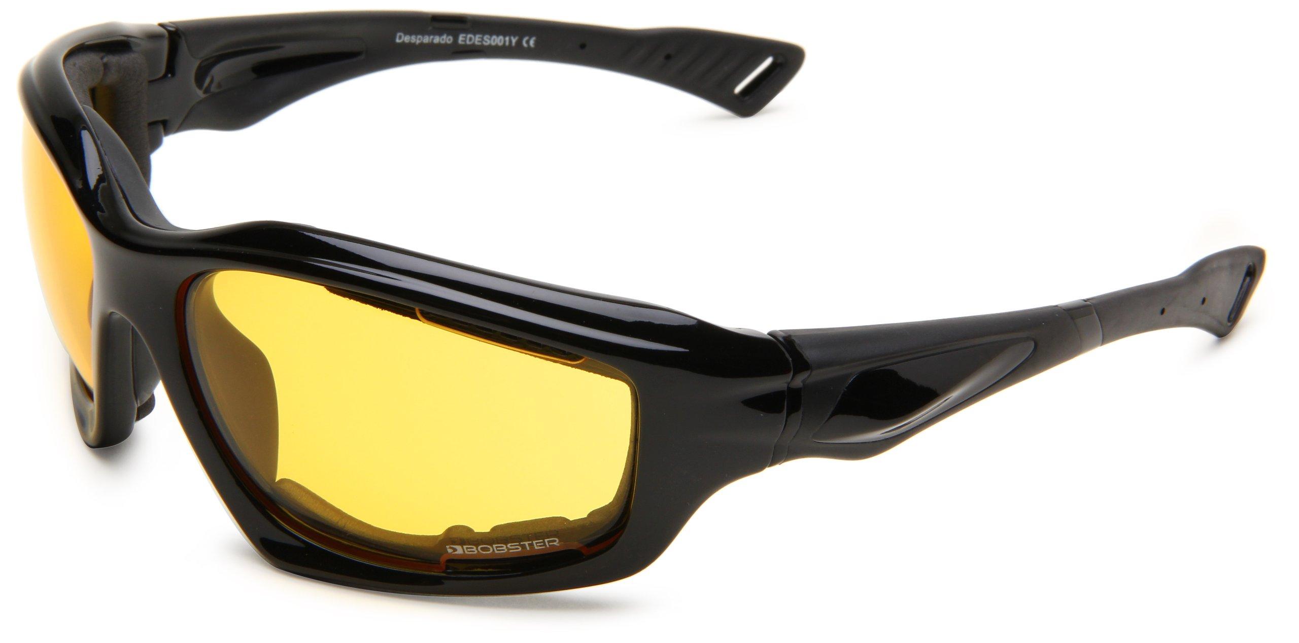 Bobster Desperado Square Sunglasses, Black Frame/Yellow Anti-Fog Lens with Foam