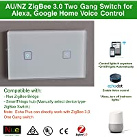 AU Approved Smart ZigBee 3.0 Two Gang AU/NZ Approved Light Switch for Wireless Home Automation Google Home Amazon Echo Dot Echo Plus Alexa Voice Lighting Control