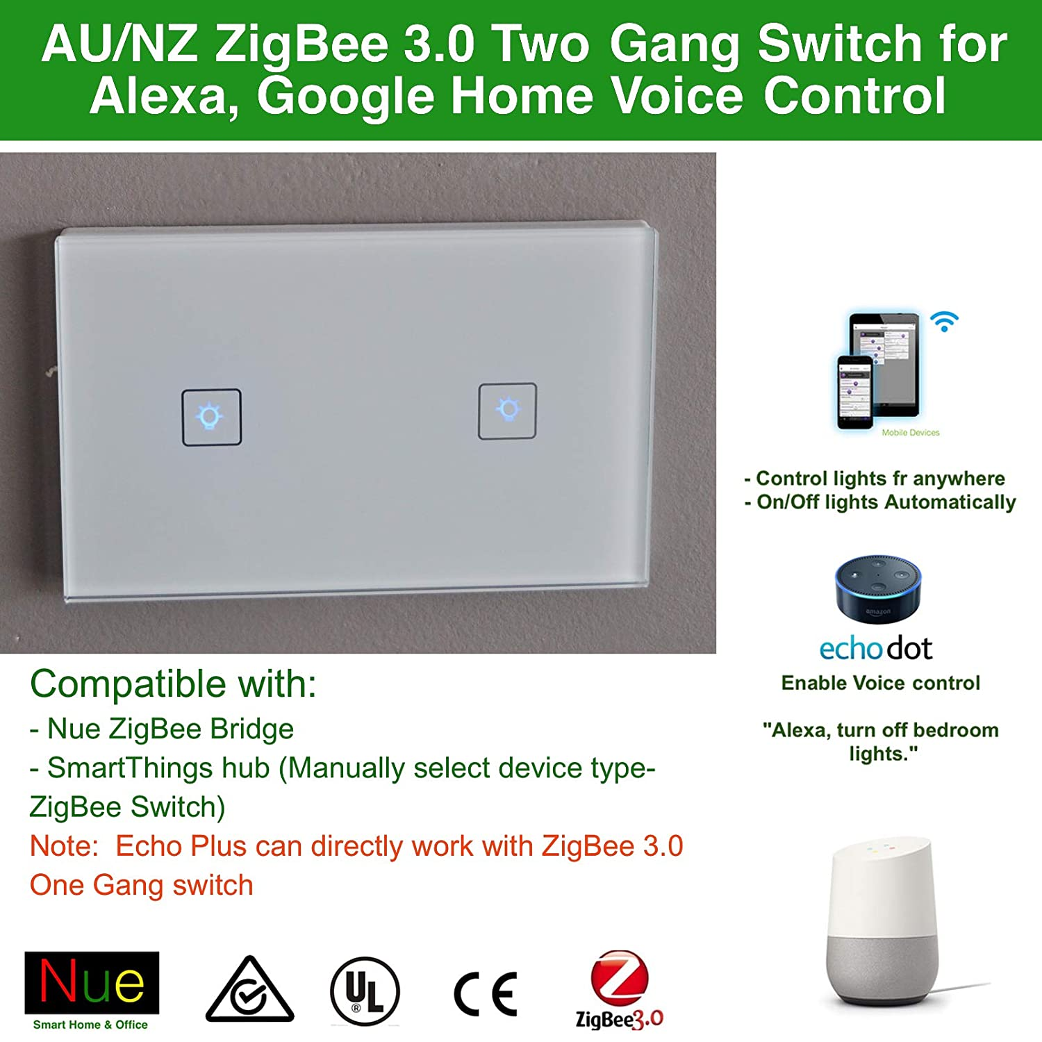 Au Approved Smart Zigbee 30 Two Gang Nz Light Switch Wiring Lights New Zealand For Wireless Home Automation Google Amazon Echo Dot Plus Alexa Voice Lighting