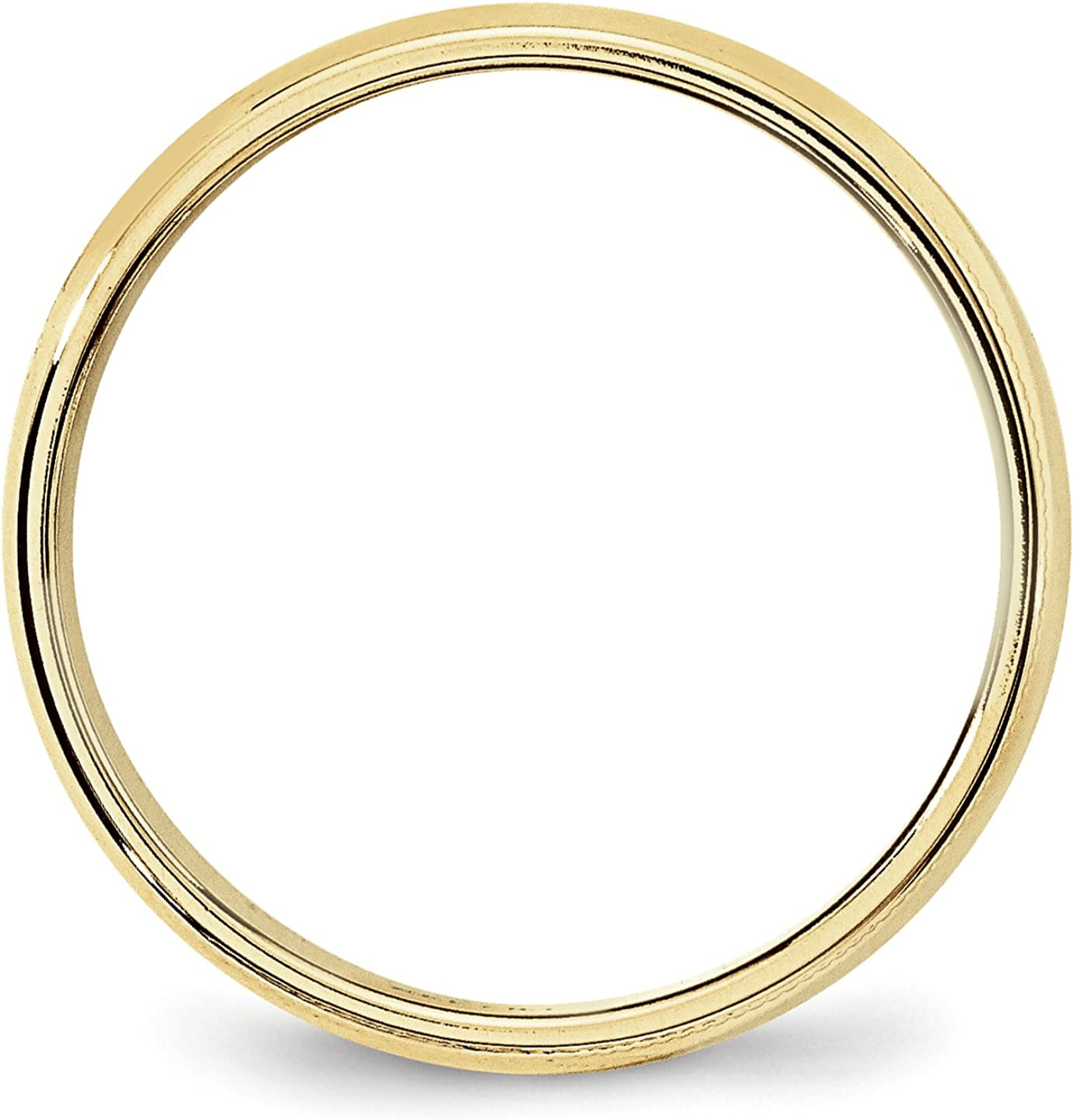 10k Yellow Gold 6mm Engravable Milgrain Half Round Band