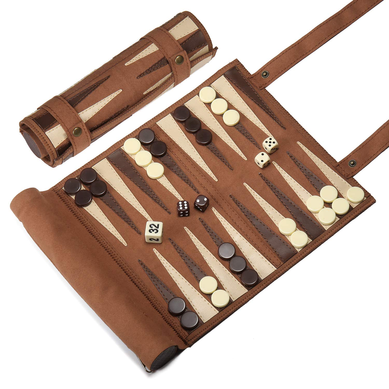 Woodronic Roll Up 3 in 1 Game Set, Backgammon Chess Checker Travel Game Set, Luxirous Suede Leather Travel Size with Gift Packaging, Brown