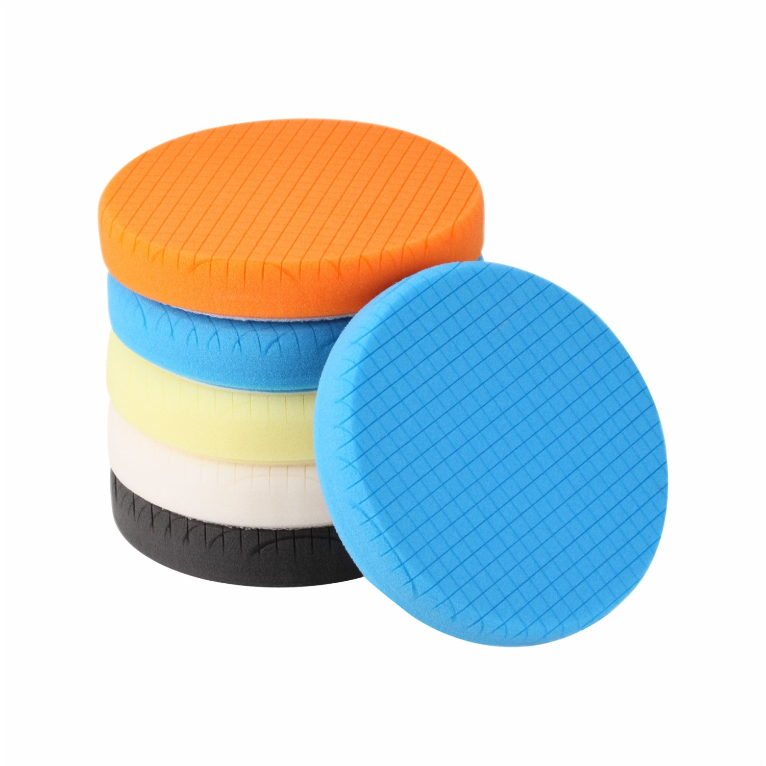 SPTA 5Pcs 7''/180mm Compound Buffing Sponge Pads Polishing Pads Kit Buffing Pad For Car Buffer Polisher Sanding,Polishing, Waxing