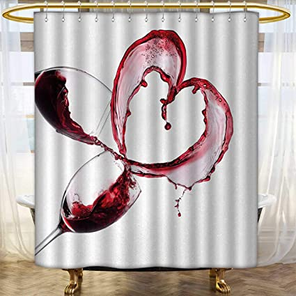 Anhounine Wine Shower Curtain Collection By Heart With Spilling Red In Glasses Romantic Love Valentines