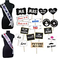 Party Propz Photography Props with Bride and Groom To Be Sash (Multicolour)