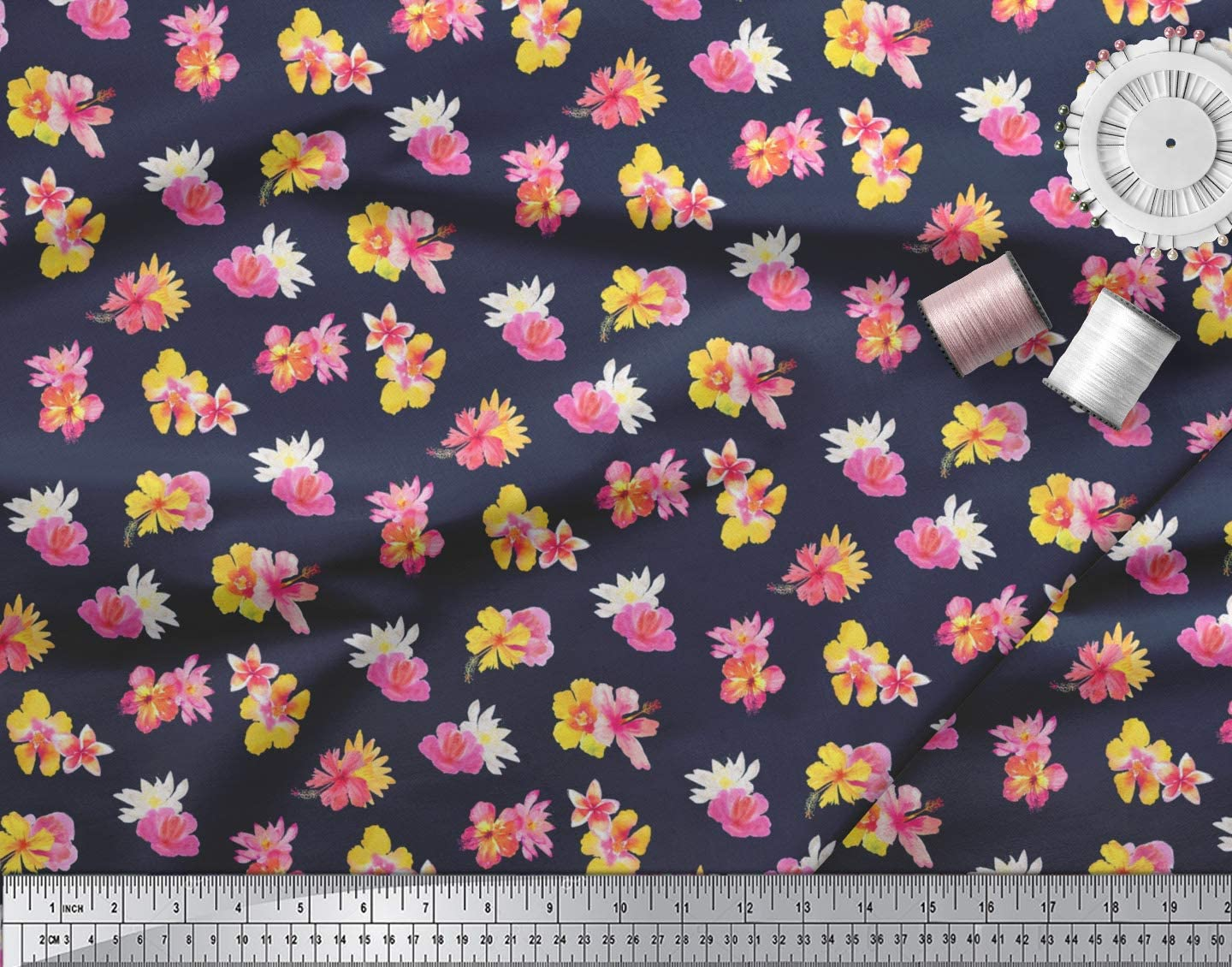 """Floral Printed Magenta Cotton Decorative Fabric 43/"""" Wide Craft By The Metre"""