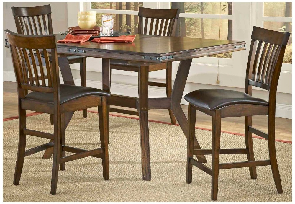 amazoncom arbor hill counter height dining set colonial chestnut finish table u0026 chair sets