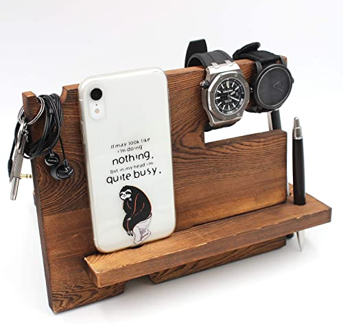 Wooden Desk Docking Station, Nightstand Organizer with Coaster -Husband Wife Gift Dad Mom Gifts Grandpa Grandma Gift, Son Daughter Gift, Girlfriend Boyfriend Gifts