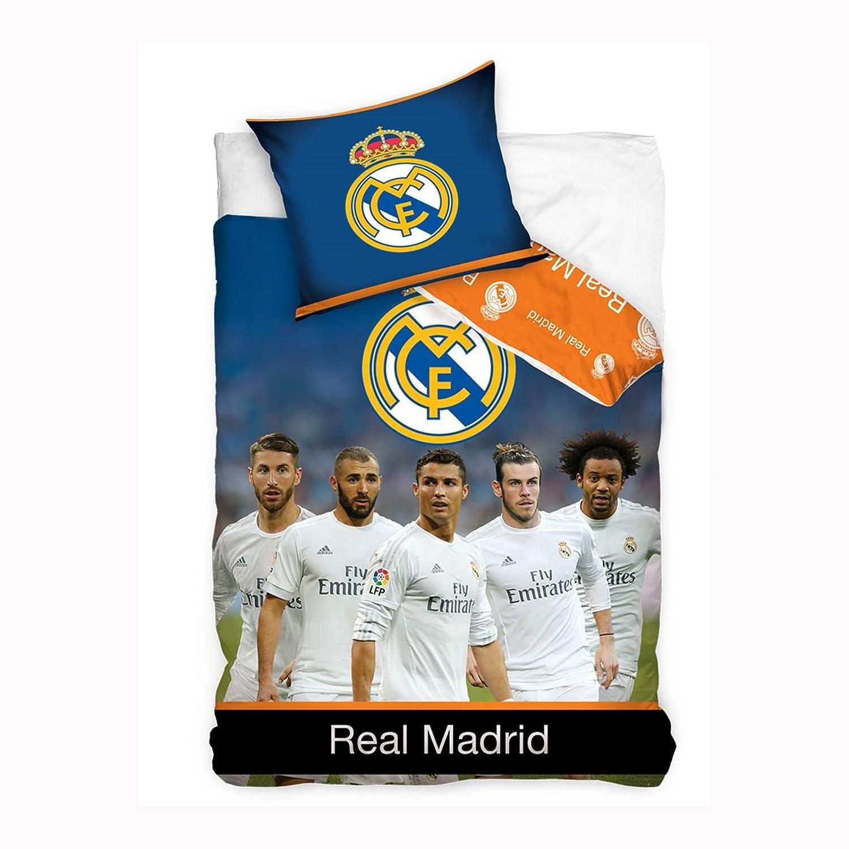 Real Madrid FC Juego de funda de edredón individual, algodón