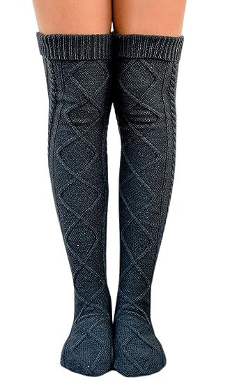 f82eb84b9bb Leg Warmers for Winter L ZZ Women Cable Knit Thigh High Socks Knee High  Socks Boot Socks at Amazon Women s Clothing store