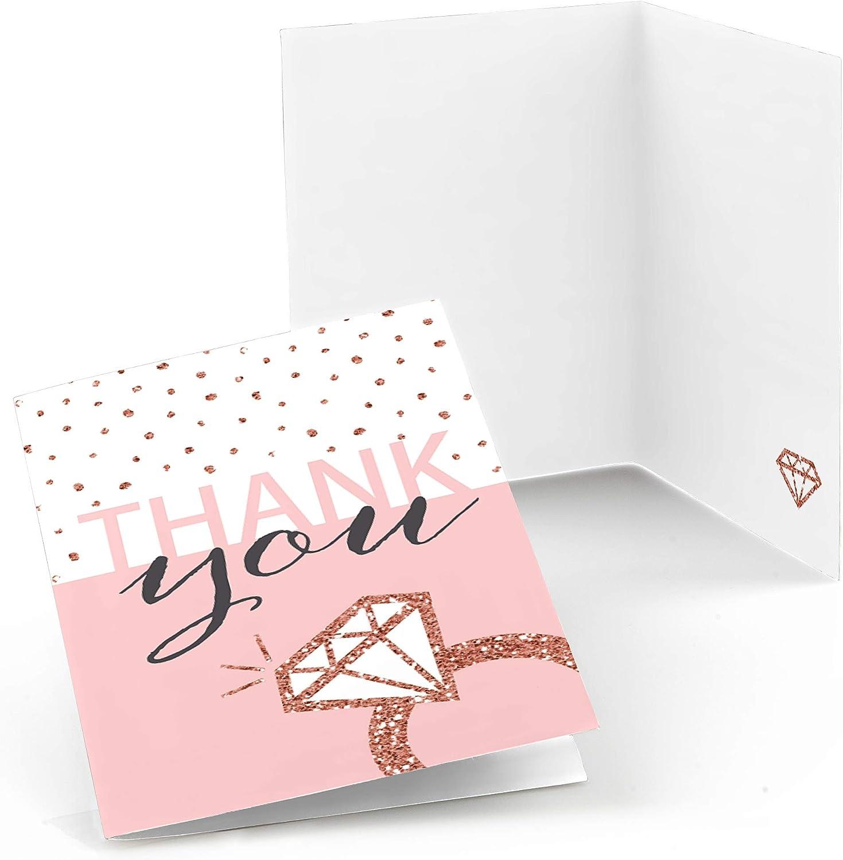 행복 신부 분대의 큰 점 - 로즈 골드 신부 샤워 또는 총각 파티 감사 카드 (8 카운트)