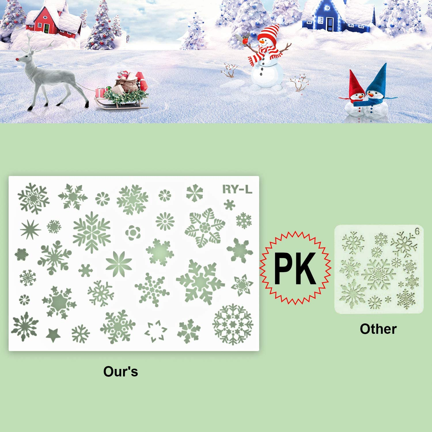 7Pcs Large Plastic Snowflake Stencils for Painting Wood HOWAF Christmas Snowflake Stencils Templates Reusable Winter Holiday Crafts Stencils for Glass Window Wall Door DIY Xmas Snowfake Decoration