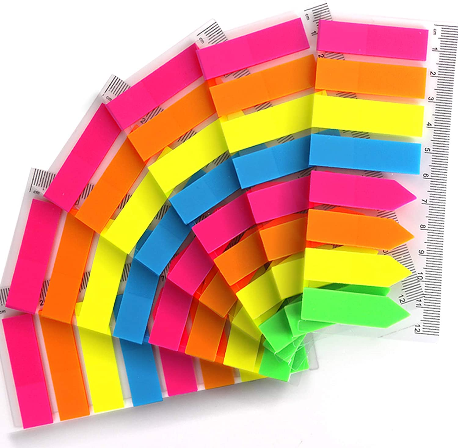 960 Pieces Neon Page Markers, FANDAMEI 6 Sets Translucent Page Flags Fluorescent Index Tabs Sticky Notes Tabs with 12 cm Measurement for Page Marker : Office Products
