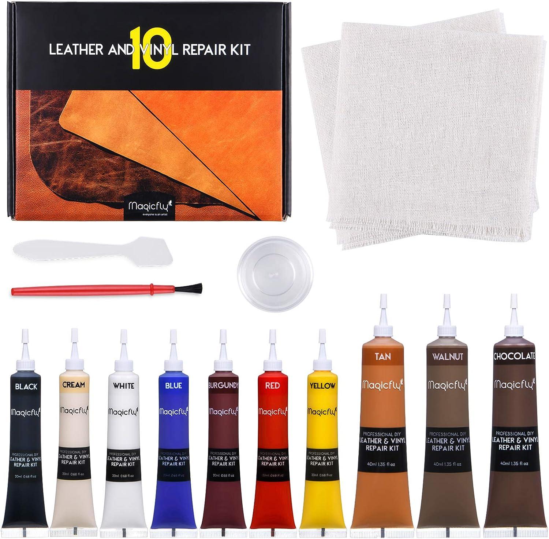Magicfly Vinyl and Leather Repair Kit, 10 Colors Vinyl Repair Kit for Furniture, Sofa, Jacket, Boat Seat, Leather Repair Kit for Couches, Car Seat to Restore Any Material
