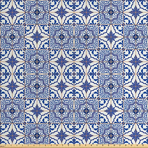 Ambesonne Moroccan Fabric by The Yard, Portuguese Tiles Squares Grid Style Pattern Oriental Motif Arabesque, Decorative Fabric for Upholstery and Home Accents, 2 Yards, Violet Blue Orange White